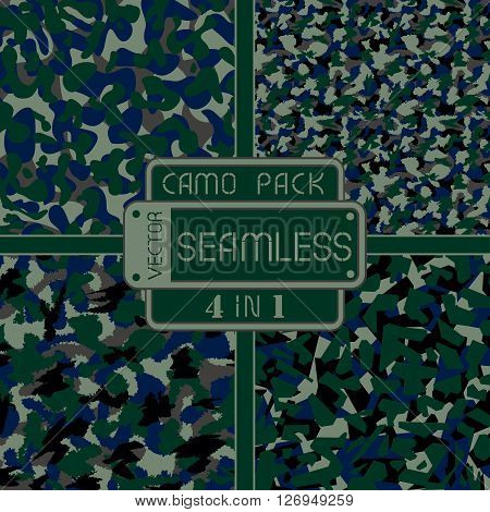 War Dark Nature Camouflage Pack 4 In 1 Seamless Vector Pattern. Can Be Used For Wallpaper, Pattern F