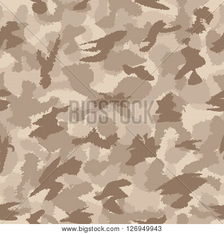 War Desert Safari Camouflage Seamless Vector Pattern. Can Be Used For Wallpaper, Pattern Fills, Web