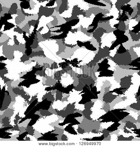 War Black And White Urban Camouflage Seamless Vector Pattern. Can Be Used For Wallpaper, Pattern Fil