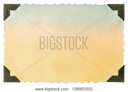 Old photo paper card with corner and edges isolated on white background. Vintage toned picture