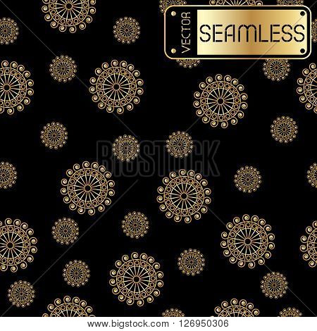 Abstract Seamless Vector Golden Pattern With Swirls On Black Texture Background. Vector Illustration