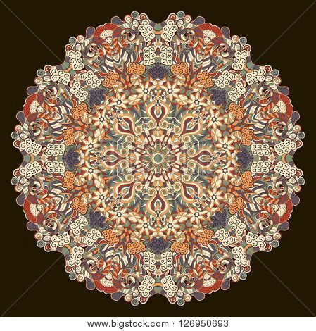 Ray Edge Mandala Tracery Wheel Mehndi Design. Tracery Calming Ornament. Neat Even Colorful Harmoniou