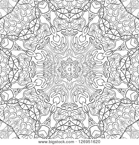 Tracery Binary Monochrome Pattern. Mehendi Carpet Design. Neat Even Harmonious Calming Doodle Textur