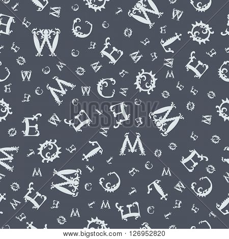 Vector Seamless Grey Vintage Pattern With White Curved Letters On Dark Blue Background. Vector Illus