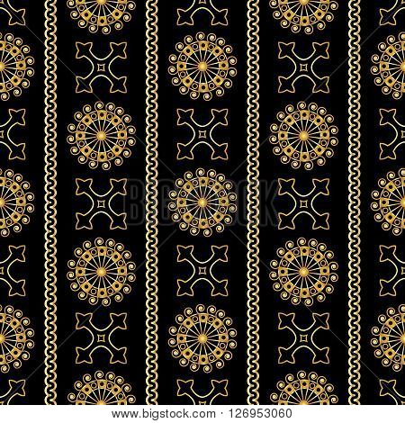 Vector Seamless Gold Vintage Ornamental Pattern On Black Background. Vector Illustration