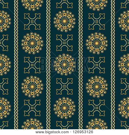 Vector Seamless Gold Vintage Ornamental Pattern On Dark Blue Background. Vector Illustration