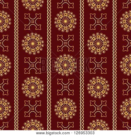 Vector Seamless Gold Vintage Ornamental Pattern On Dark Red Background. Vector Illustration
