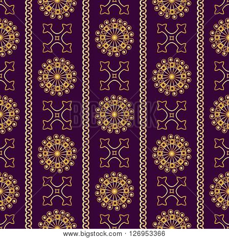 Vector Seamless Gold Vintage Ornamental Pattern On Violet Background. Vector Illustration