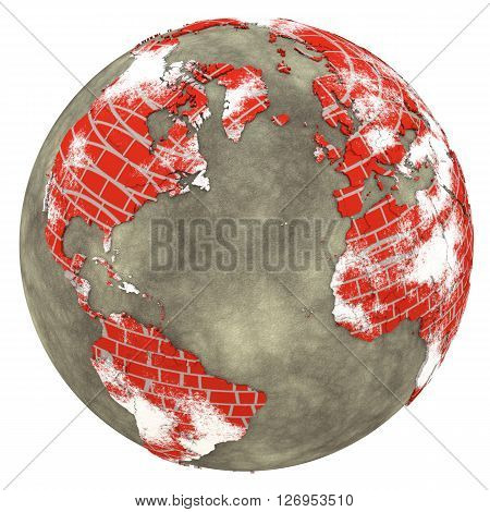 North America And Europe On Brick Wall Earth