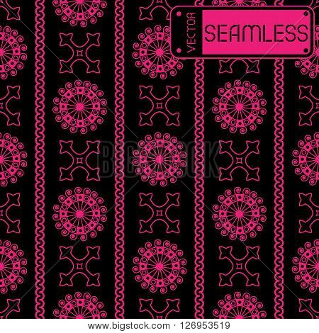 Vector Seamless Pink Vintage Ornamental Pattern On Black Background. Vector Illustration