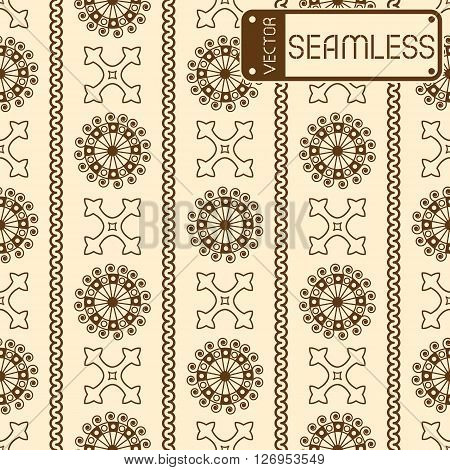 Vector Seamless Brown Vintage Ornamental Pattern On Beige Background. Vector Illustration