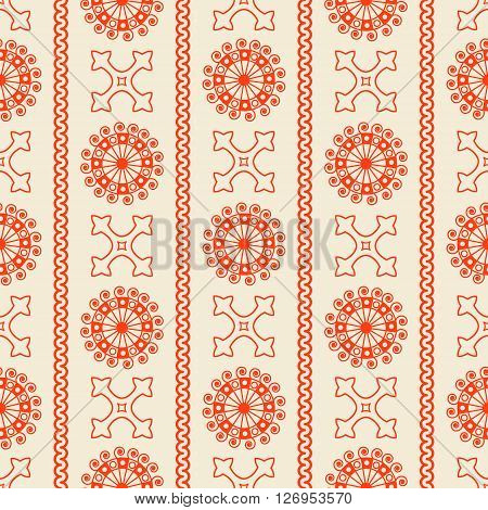 Vector Seamless Orange Vintage Ornamental Pattern On Beige Background. Vector Illustration