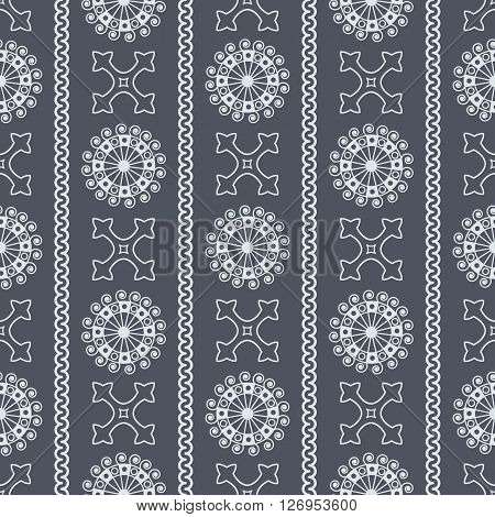 Vector Seamless Grey Vintage Ornamental Pattern On Dark Blue Background. Vector Illustration