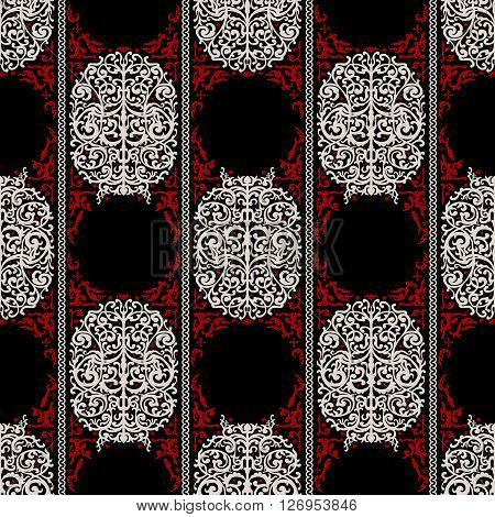 Red, White And Black Ancient Vintage Seamless Ornamental Texture. Vector Illustration