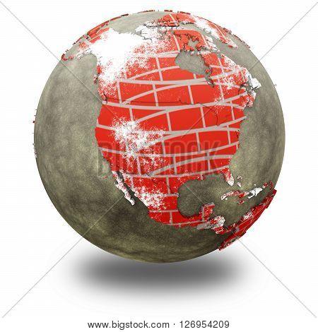 North America On Brick Wall Earth