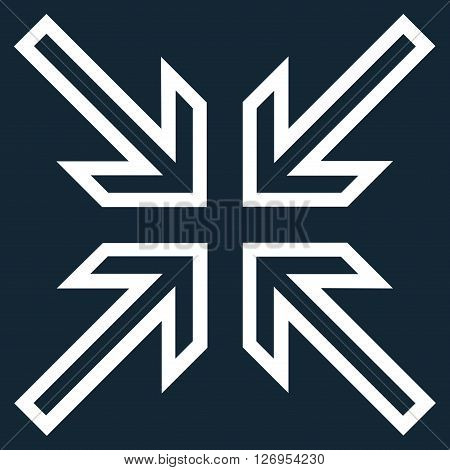 Implode Arrows vector icon. Style is contour icon symbol, white color, dark blue background.