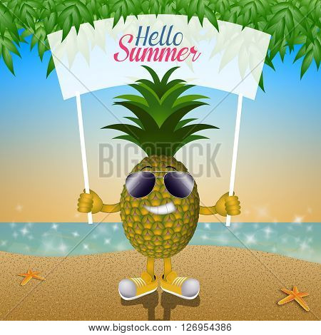 Funny pineapple with sunglasses on the beach