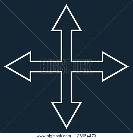 Maximize Arrows vector icon. Style is thin line icon symbol, white color, dark blue background.