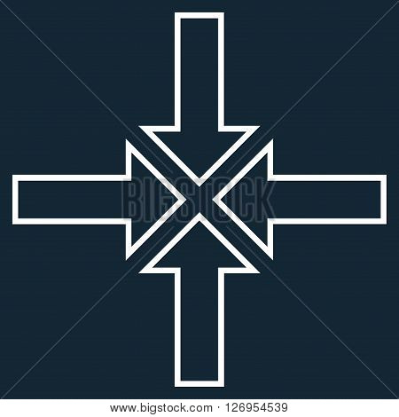 Meeting Point vector icon. Style is thin line icon symbol, white color, dark blue background.