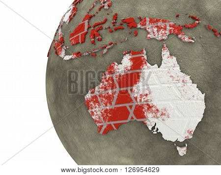 Australia On Brick Wall Earth