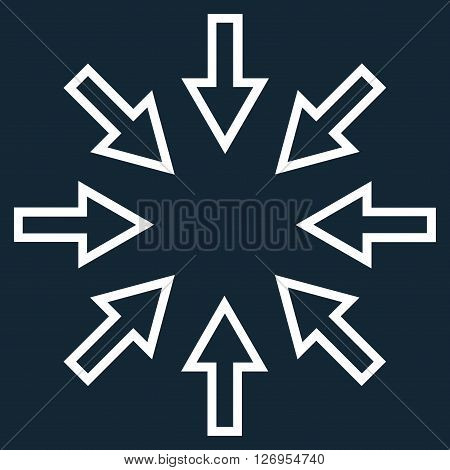 Pressure Arrows vector icon. Style is stroke icon symbol, white color, dark blue background.
