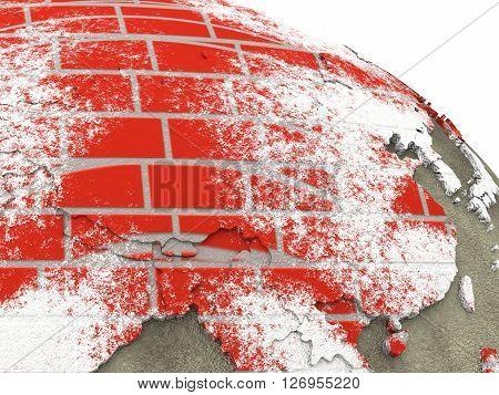 China On Brick Wall Earth