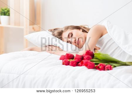 Pleasant morning, Pleasant charming woman lying in bed while having a nice sleep