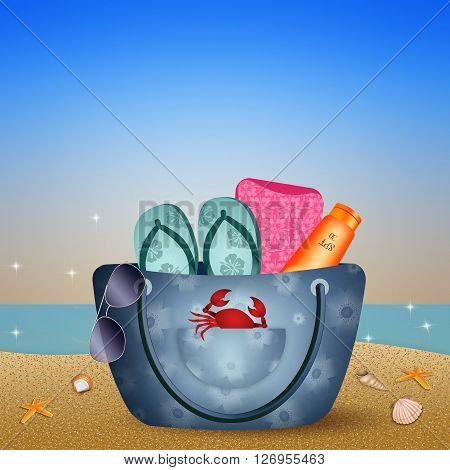 an illustration of Beach bag on the beach