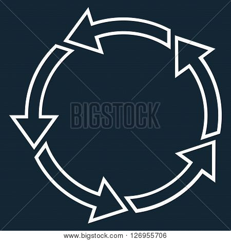 Rotation Ccw vector icon. Style is contour icon symbol, white color, dark blue background.
