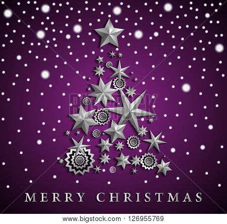 Christmas And New Year Abstract With Christmas Tree Made Of Stars And Snowflakes On Violet Ambient G
