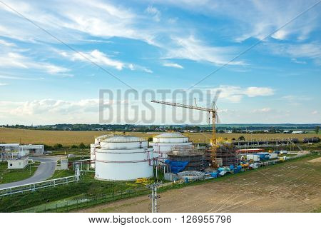 Aerial view on the modern biofuel factory ** Note: Visible grain at 100%, best at smaller sizes