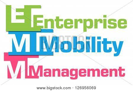 EMM - Enterprise Mobility Management text alphabets over colorful background.