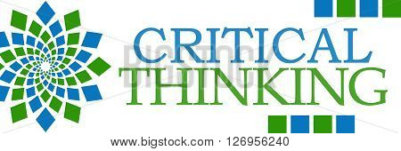 Critical Thinking text written over green blue background.