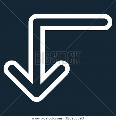Turn Down vector icon. Style is contour icon symbol, white color, dark blue background.
