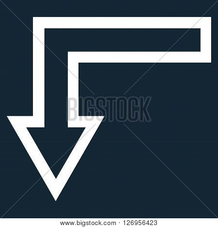 Turn Down vector icon. Style is outline icon symbol, white color, dark blue background.