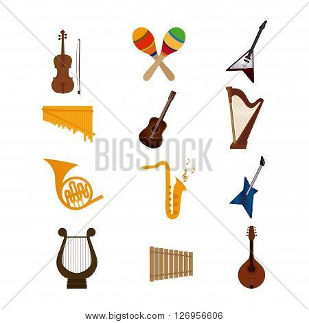 Set of different musical instruments on a white background