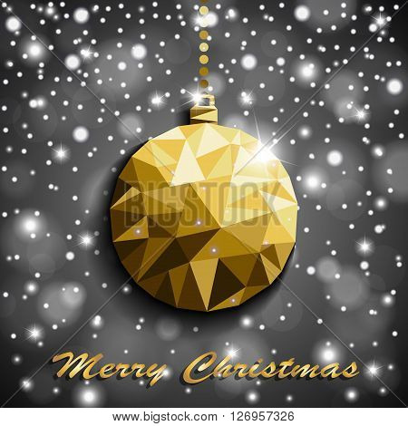 Origami Style Gold Christmas Toy With Shadow On Illuminated Silver Blurred Shiny Background With Sno