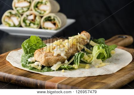 Breaded Chicken Burrito Wrap With Fresh Lettuce Cheese
