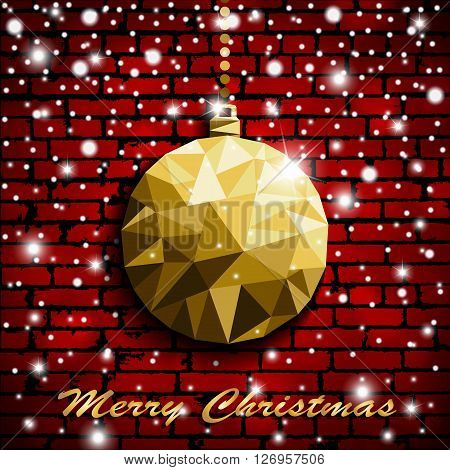 Origami Style Gold Christmas Toy With Shadow On Illuminated Red Brick Wall Background With Snow. Vec