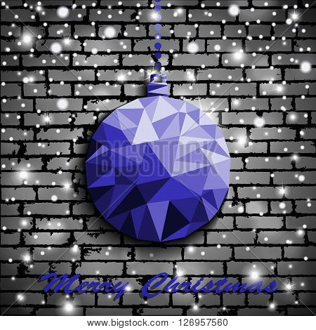 Origami Style Blue Christmas Toy With Shadow On Illuminated Silver Brick Wall Background With Snow.