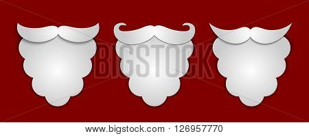 Vector Abstract Snow Paper Santa's Beard With Shadows 3 In 1 On Red Background. Vector Illustration