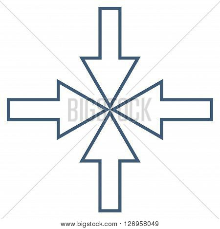 Compact Arrows vector icon. Style is contour icon symbol, blue color, white background.