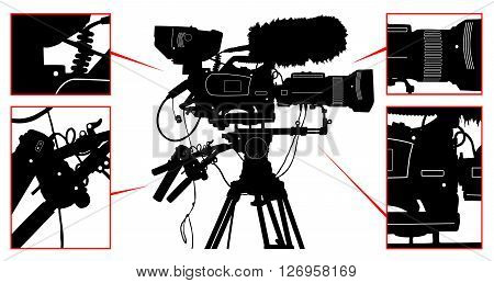 High Detailed Vector Professional Television Video Camera Isolated On White. Vector Illustration