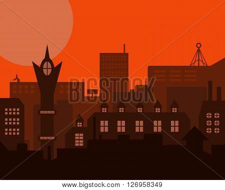 Night Industrial European Orange Styled Vintage Landscape. Vector Illustration