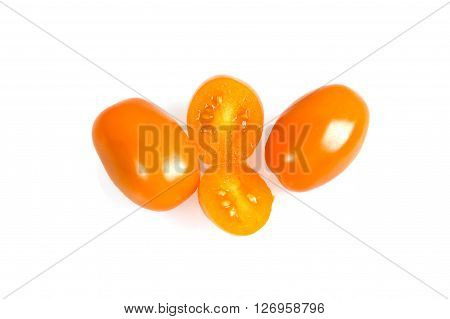 Perino gold tomatoes on a white background