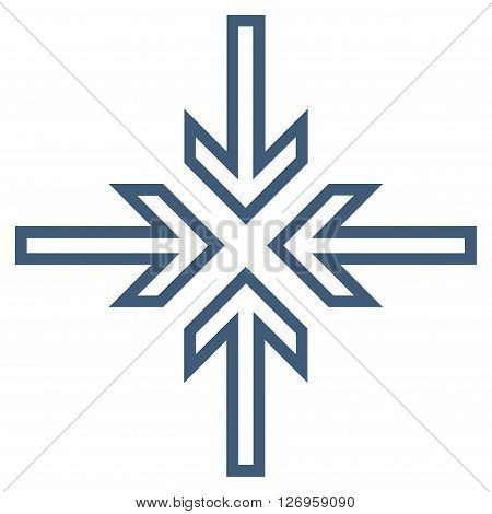 Implode Arrows vector icon. Style is contour icon symbol, blue color, white background.
