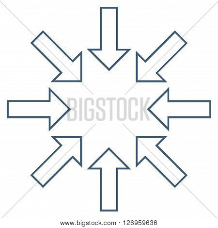 Pressure Arrows vector icon. Style is outline icon symbol, blue color, white background.