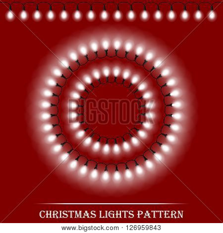 Vector Detailed Realistic Christmas White Lights And Circle Frames On Dark Red Background. Vector Il