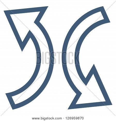 Replace Arrows vector icon. Style is stroke icon symbol, blue color, white background.