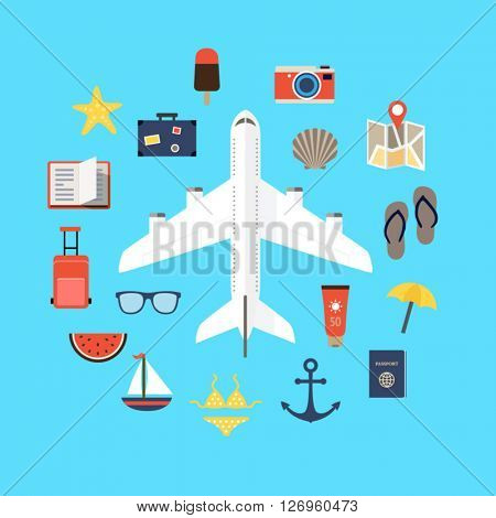 Flat design background with icons representing summer, plane traveling, relaxation on the beach, leisure time.